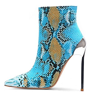 cheap Women's Heels-Women's Boots Summer Stiletto Heel Pointed Toe Daily Solid Colored PU Blue / Orange