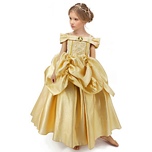 cheap Anime Costumes-Princess Belle Dress Flower Girl Dress Girls' Movie Cosplay A-Line Slip Yellow Dress Halloween Children's Day Masquerade Polyester
