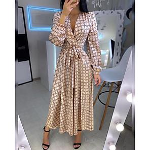 cheap Women's Sandals-Women's Swing Dress Maxi long Dress - Long Sleeve Geometric Patchwork Print Spring Summer V Neck Casual Daily Lantern Sleeve Loose 2020 Gold S M L XL XXL