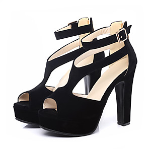 cheap Women's Heels-Women's Sandals Spring / Summer Pumps Peep Toe Casual Sexy Sweet Daily Party & Evening Buckle Solid Colored PU Black / Beige
