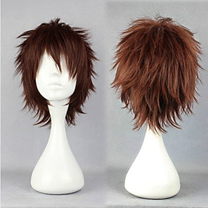 cheap Costume Wigs-Cosplay Costume Wig Synthetic Wig Cosplay Wig Mitsuru Tenma Gintama Ensemble Stars Curly Cosplay Layered Haircut Wig Short Brown Silver Blonde Black Synthetic Hair 10 inch Men's Cosplay Brown hairjoy