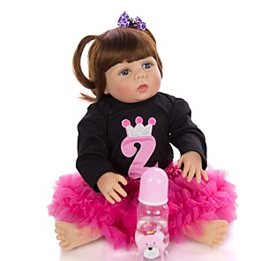 cheap Magic Cubes-KEIUMI 22 inch Reborn Doll Baby & Toddler Toy Reborn Toddler Doll Baby Girl Gift Cute Washable Lovely Parent-Child Interaction Full Body Silicone KUM23FS04-WLW14 with Clothes and Accessories for