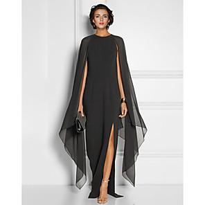 cheap Wedding Wraps-Sheath / Column Elegant Black Wedding Guest Formal Evening Dress Jewel Neck Sleeveless Floor Length Chiffon with Draping Split Front 2020