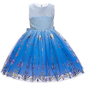 cheap Movie & TV Theme Costumes-Princess Elsa Dress Flower Girl Dress Girls' Movie Cosplay A-Line Slip Blue Dress Christmas Halloween Children's Day Polyester