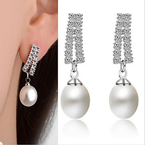 cheap Earrings-Women's Stud Earrings Classic Love Silver Plated Earrings Jewelry White For Wedding Party Daily Festival 1 Pair