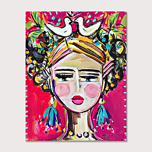 cheap Abstract Paintings-Painted Modern Abstract Pink Cute Girl Oil Painting on Canvas Handmade Abstract People Wall Art for Decor Rolled Canvas