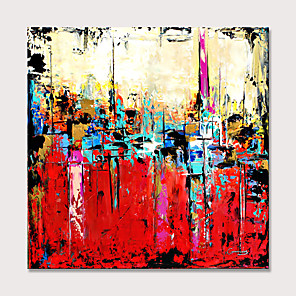 cheap Abstract Paintings-Canvas Wall Art Hand Painted Oil Paintings Modern Abstract Textured Cityscape Artwork Rolled Without Frame