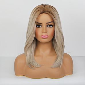 cheap Synthetic Trendy Wigs-Synthetic Wig Natural Straight Pixie Cut Side Part Wig Medium Length Rose Gold Synthetic Hair 20 inch Women's Classic Natural New Arrival Blonde