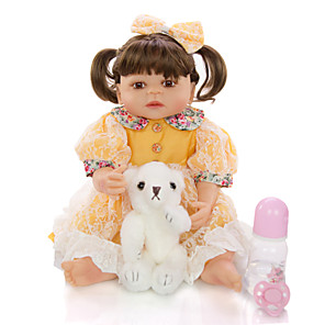 cheap Stuffed Animals-KEIUMI 22 inch Reborn Doll Baby & Toddler Toy Reborn Toddler Doll Baby Girl Gift Cute Washable Lovely Parent-Child Interaction Full Body Silicone 23D95-C145-T19 with Clothes and Accessories for