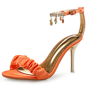 cheap Women's Sandals-Women's Sandals Spring Fall Pumps Open Toe Wedding Party & Evening Rhinestone Crystal Satin Black / Orange / Gold