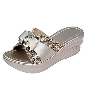 cheap Women's Sandals-Women's Clogs & Mules / Slippers & Flip-Flops Summer Flat Heel Round Toe Daily Color Block PU Gold / Gray