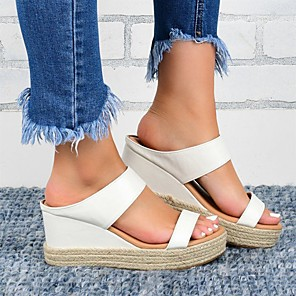 cheap Women's Sandals-Women's Sandals Summer / Fall Wedge Heel Open Toe Casual Daily Home Faux Leather Black / White / White / Black