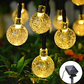 cheap LED String Lights-6.5M 30LED Solar LED Light String Crystal Ball Bubble Lamp Fairy String Lights Outdoor String Lights 8 Function Outdoor Waterproof For Wedding Garden Lawn Christmas Decoration Solar Lamp