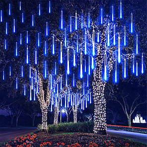 cheap LED String Lights-Falling Rain Lights Meteor Shower Lights Christmas Lights 50cm 8 Tube 240LEDs Falling Rain Drop Icicle String Lights for Christmas Trees Halloween Decoration Holiday Wedding