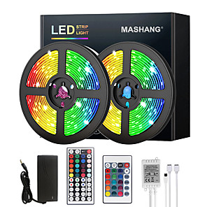 cheap LED Strip Lights-5M 10M 15M 20M LED Strip Lights RGB DC12V LED Lights Flexible Color Change SMD 2835 with IR Remote Controller and 100-240V Adapter for Home Bedroom Kitchen TV Back Lights DIY Deco