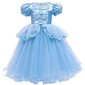 cheap Movie & TV Theme Costumes-Cinderella Princess Dress Flower Girl Dress Girls' Movie Cosplay A-Line Slip Blue Dress Christmas Halloween Children's Day Polyester