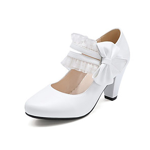 cheap Women's Heels-Women's Heels Spring Fall Cone Heel Round Toe Casual Daily Office & Career Bowknot Lace Solid Colored PU White / Black / Pink