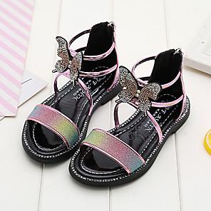 cheap Kids' LED Shoes-Girls' Sandals Flower Girl Shoes PU Little Kids(4-7ys) / Big Kids(7years +) Walking Shoes Pink / Gold Summer