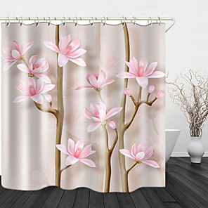 cheap Shower Curtains-Beautiful Flowers Digital Print Waterproof Fabric Shower Curtain For Bathroom Home Decor Covered Bathtub Curtains Liner Includes With Hooks