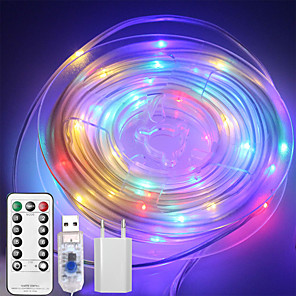 cheap LED String Lights-10M 100 LEDs Casing Waterproof String Lights  1 13Keys Remote  Controller  Configurable US EU UK Plug   RGBWarm Waterproof Outdoor USB 5 V Party Night Light 1 set