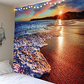 baratos Papel de Parede-tapeçaria crepúsculo praia suspensão de parede água paisagem praia decoração nuvem azul cobertor de poliéster espuma azul feito à mão