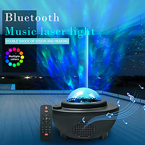cheap Projectors-LITBest Bluetooth Music Laser Light Projection 10 Color Mode Lamp LED Star Projector Night Light Galaxy Starry Lamp Ocean Wave Projector Speaker Remote Control Room Atmosphere Party Light