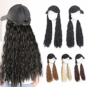 """cheap Synthetic Trendy Wigs-baseball cap with hair hat hair extension curly long wavy corn wave hairpiece with baseball hat attached adjustable cap synthetic yaki hair for girls and women (18""""-corn wave, wine red)"""