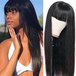cheap Makeup Brush Sets-Remy Human Hair Wig Long Natural Straight With Bangs Natural Black Fashionable Design Party Natural Machine Made Capless Natural Black 18 inch