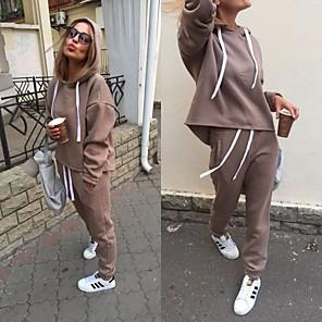 cheap Wedding Slips-Women's Sweatsuit Hoodie 2 Piece Set Sweatpants Cropped hoodie / Crop hoodie Loose Fit Minimalist Drawstring Hoodie Solid Color Sport Athleisure Sweatshirt and Pants Outfits Long Sleeve Warm Soft