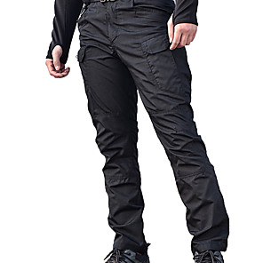 cheap Hiking Trousers & Shorts-Men's Hiking Pants Hiking Cargo Pants Tactical Pants Solid Color Outdoor Regular Fit Waterproof Windproof Breathable Multi-Pocket Pants / Trousers Bottoms Black Grey Khaki Green Hunting Fishing