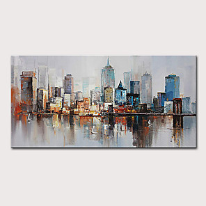cheap Abstract Paintings-Mintura  Large Size Hand Painted Abstract City Landscape Oil Painting On Canvas Modern Pop Art Posters Wall Picture For Home Decoration No Framed Rolled Without Frame