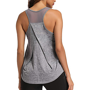 cheap Exercise, Fitness & Yoga Clothing-Women's Yoga Top Racerback Patchwork Light Blue Black Purple Fuchsia Green Mesh Fitness Gym Workout Running Tank Top T Shirt Sport Activewear Lightweight 4 Way Stretch Breathable Quick Dry Moisture