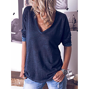 cheap Other Phone Case-Women's Blouse Solid Colored Long Sleeve V Neck Tops Loose Cotton Basic Basic Top White Blue Yellow