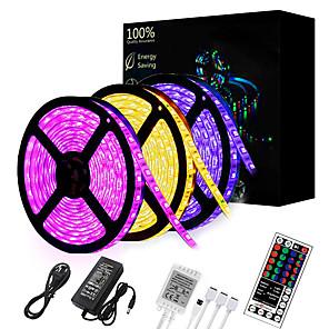 cheap LED String Lights-15M(3*5M) LED Light Strips RGB Tiktok Lights 2835 SMD 900 LEDs 8mm Strip Flexible Light LED Tape waterproof AC 12V 600LEDs with 44Key IR Remote Controller Kit