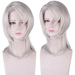 cheap Synthetic Trendy Wigs-Cosplay Costume Wig Synthetic Wig Rui Demon Slayer Natural Straight With Bangs Wig Medium Length White Synthetic Hair 14 inch Women's Anime Fashionable Design Cosplay White