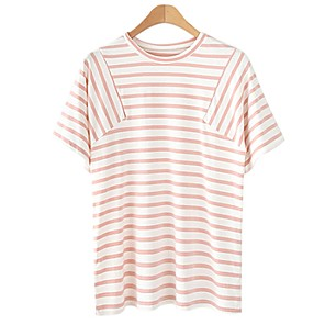 cheap Other Phone Case-Women's Blouse Striped Patchwork Print Round Neck Tops Cotton Basic Basic Top Black Blue Blushing Pink