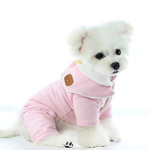 cheap Dog Clothes-Dog Coat Jumpsuit Pajamas Solid Colored Casual / Daily Cute Casual / Daily Winter Dog Clothes Warm Blue Pink Costume Cotton XS S M L XL