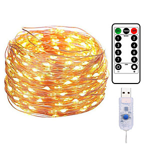 cheap LED String Lights-20M 200LED Copper Wire String Lights Outdoor String Lights USB Plug-in Fairy Lights With Remote 8 Modes Lights Waterproof Remote Control Timer Christmas Wedding Birthday Family Party Room Valentine's