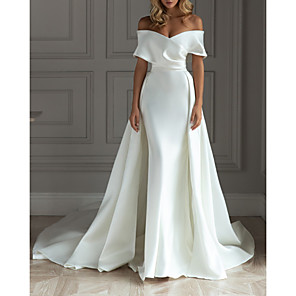 cheap Wedding Slips-A-Line Wedding Dresses Off Shoulder Court Train Detachable Satin Short Sleeve Simple with 2020