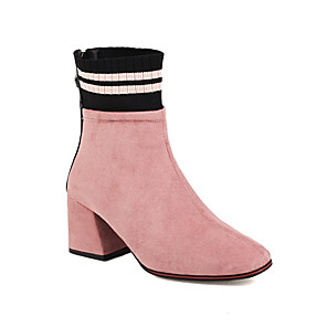 cheap Women's Boots-Women's Boots Block Heel Round Toe Chinoiserie Daily Party & Evening Color Block Knit Suede Booties / Ankle Boots Black / Red / Pink / Sock Boots