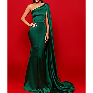 cheap Evening Dresses-Sheath / Column Beautiful Back Sexy Party Wear Formal Evening Dress One Shoulder Sleeveless Court Train Stretch Satin with Pleats 2020