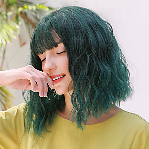 cheap Synthetic Trendy Wigs-Synthetic Wig Wavy Water Wave Side Part Neat Bang With Bangs Wig Medium Length Green Synthetic Hair 14 inch Women's Cosplay Party Adorable Green BLONDE UNICORN / African American Wig