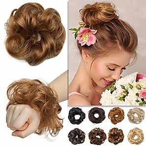 cheap Permanent Makeup Kits-real human hair scrunchie hair piece curly wavy rose bun elegant chignons messy updo for women kids wedding donut ponytails hairpiece light brown