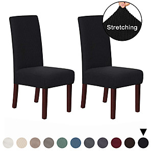 cheap Chair Cover-2 Pcs Chair Cover Dining Chair Slipcover Super Fit Stretch Removable Washable Short Dining Chair Protector Cover Seat Slipcover for Hotel/Dining Room/Ceremony/Banquet Wedding Party