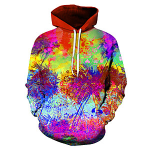 cheap Synthetic Trendy Wigs-Men's Daily Pullover Hoodie Sweatshirt Graphic Hooded Casual Basic Hoodies Sweatshirts  Rainbow