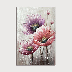 cheap Floral/Botanical Paintings-Oil Painting Paint Handmade Abstract Flowers Canvas Art Modern Art with Stretcher Ready to Hang With Stretched Frame