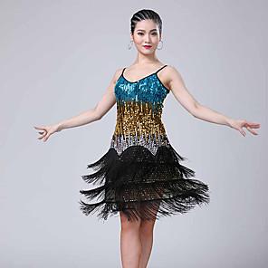 cheap Latin Dancewear-Latin Dance Dress Tassel Paillette Women's Performance Sleeveless Polyester