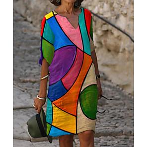 cheap Smartwatches-Women's Shift Dress Knee Length Dress - Half Sleeve Color Block Print Summer Fall V Neck Casual Daily Loose 2020 Rainbow M L XL XXL 3XL