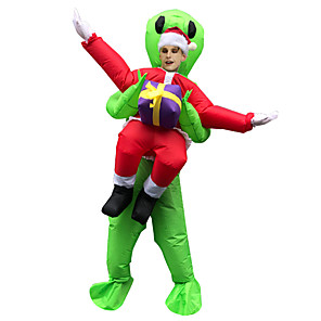 cheap Other Phone Case-Alien Cosplay Costume Inflatable Costume Funny Costume Adults' Men's Cosplay Halloween Halloween Festival / Holiday Fabric Green Men's Women's Easy Carnival Costumes