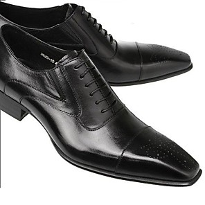 cheap Men's Oxfords-Men's Summer / Fall Business Wedding Party & Evening Oxfords Walking Shoes Leather Non-slipping Wear Proof Black / Coffee / Square Toe